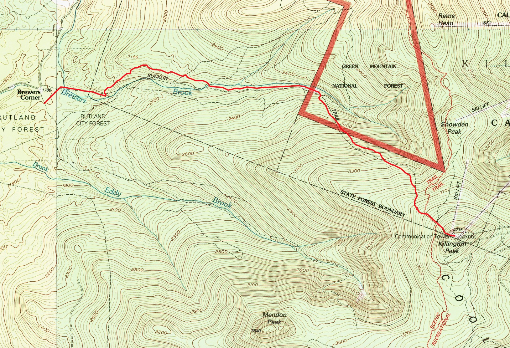 topographic map of bucklin trail mount killington