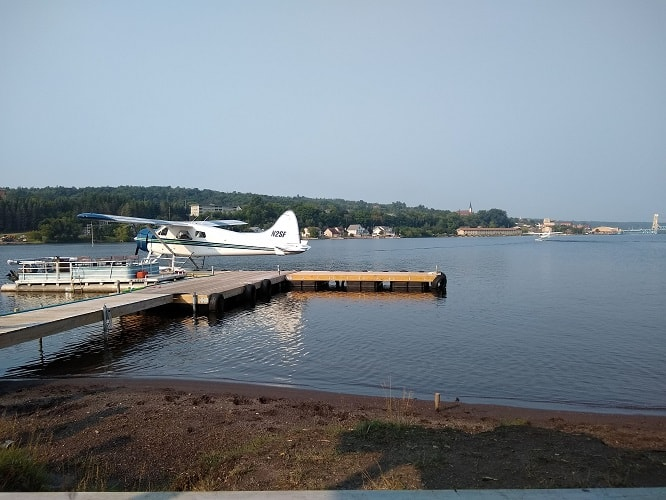 this is where the sea plane takes off from Houghton, MI