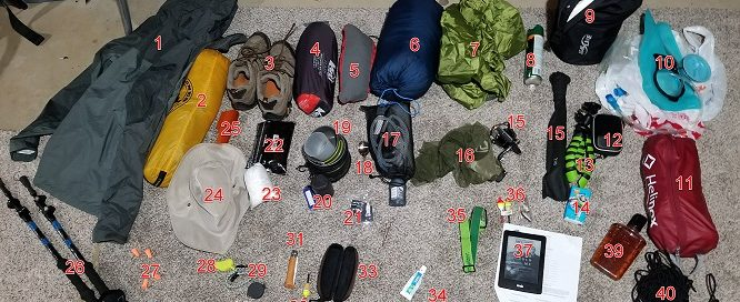 all of the backpacking and camping gear i took to isle royale