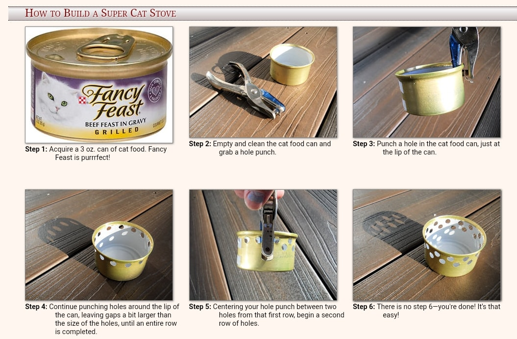step by step guide on how to make a cat food or soda can stove for backpacking