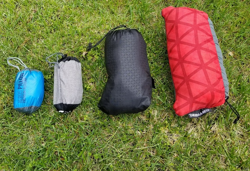 side by side comparison of all 4 backpacking pillows i tested