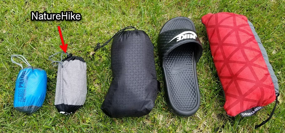 side by side compressed backpacking pillow comparison