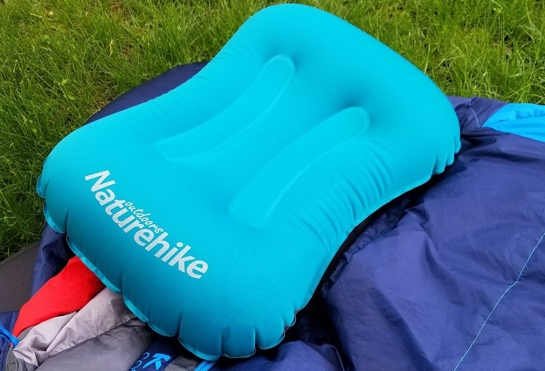 naturehike inflatable backpacking pillow on my kelty cosmic 20 sleeping bag